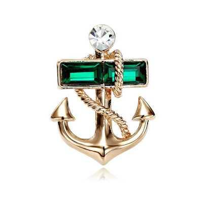 Utei брошь высокого качества элегантный хрустальный якорь брошь золотого цвета сплав новинка мужской костюм цветная булавка модная деловая рубашка шпильки - Окраска металла: Green Crystal