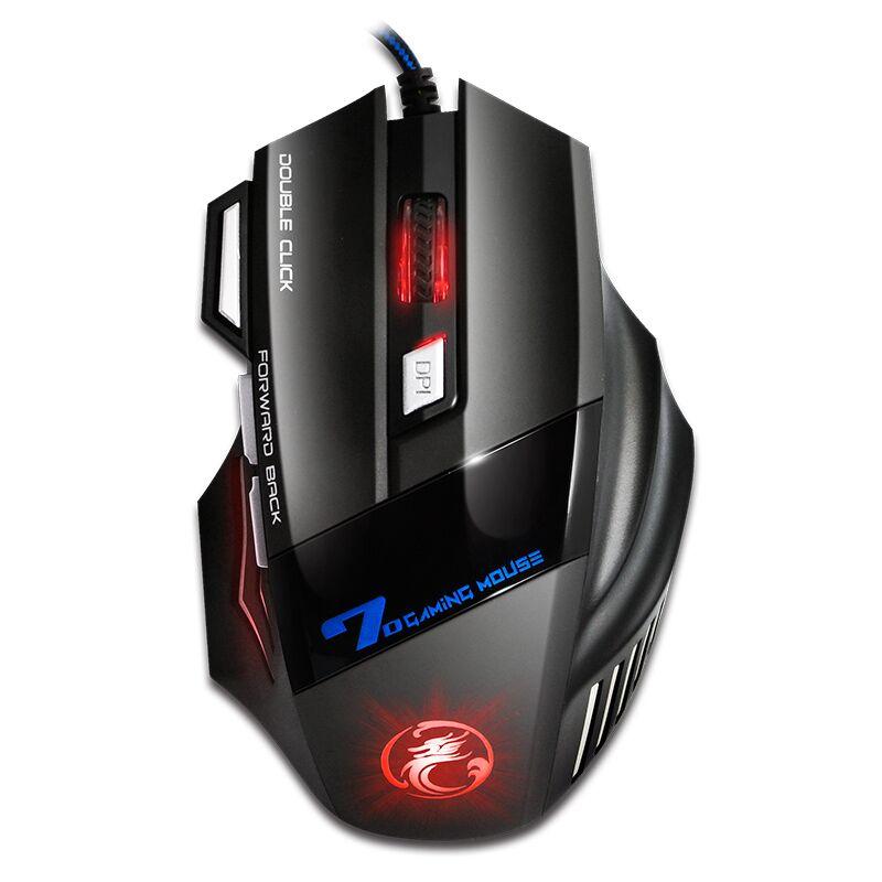 Profesional con Cable de ratón del juego 5500 DPI en silencio Mause 7 botones Cable USB LED óptico Gamer ratón para PC juego de ordenador los ratones X7