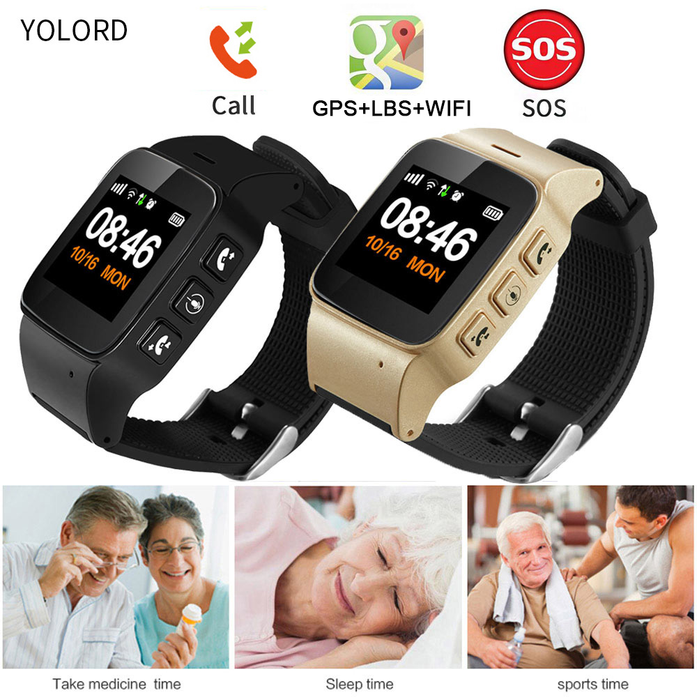 YOLORD Elderly Adult Old People Kids Child Two Way Talk Sim Card Call GPS+LBS Positioning SOS Remote Monitor Smart Watch