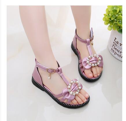 53d2b58c44e0e Summer Girls Sandals Children Shoes Rhinestone Princess Cute flowers Shoes  Flip Flops With Elastic Band Beach