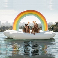4 Person Inflatable Giant Rainbow Pool Float Island Swimming Pool Lake Beach Party Floating Boat Adult Water Toys Air Mattresses