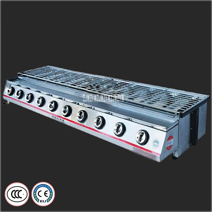 Gril de Barbecue à gaz dix têtes cuisinière sans fumée SC-ST10 Barbecue à gaz Barbecue en acier inoxydable matériau couvercle en verre four de Barbecue CE/3C