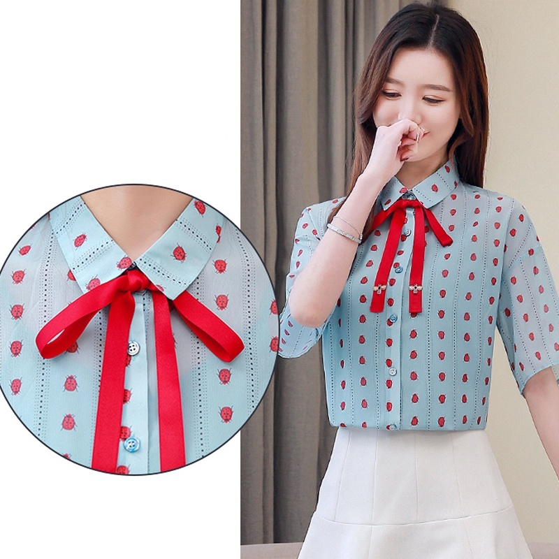 Women Blouses Summer Women Shirts Blouse Short Sleeve Chiffon Shirt Womens Tops and Blouses in Blouses amp Shirts from Women 39 s Clothing