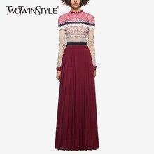 bc51def150 TWOTWINSTYLE Koronki Patchwork Party Dress Kobieta Z Długim Rękawem  Wzburzyć Maxi Sukienki Kobiety Wiosna Ubrania Moda 2018 Spir.