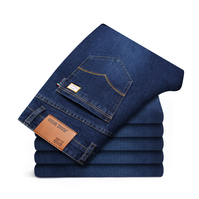 Men Classic Slim Fit Jeans For Spring Autumn Casual Male Brand Skinny Zipper Straight Black Blue Denim Pants Long Plaid Trousers