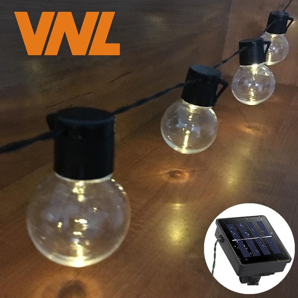 VNL Solar 5M 20 LED Wedding G50 String Fairy Light LED Globe Festoon Bulb Warm Fairy String Light Outdoor Party Garden Garland