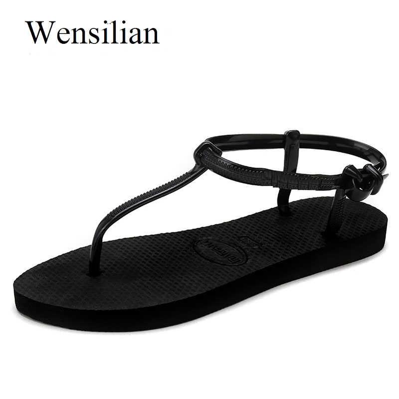 42647d3466c46 Gladiator Sandals Women Rome Sandals Women Flat Shoes Basic Slippers Female Flip  Flops T-Stripe