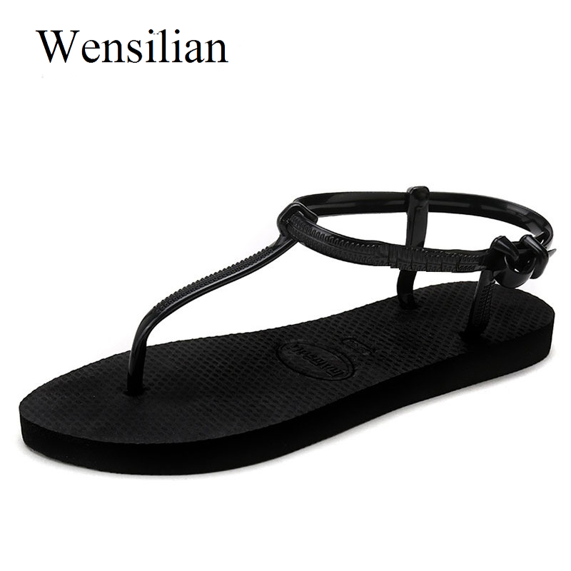 Gladiator Sandals Women Flat Sandals Women Summer T Stripe Flip Flops Beach Shoes Flat Shoes Women Non-slip Black Zapatos Mujer espadrilles retro gladiator sandals women genuine cow leather flip flops sandals lace up shoes black brown zapatos mujer