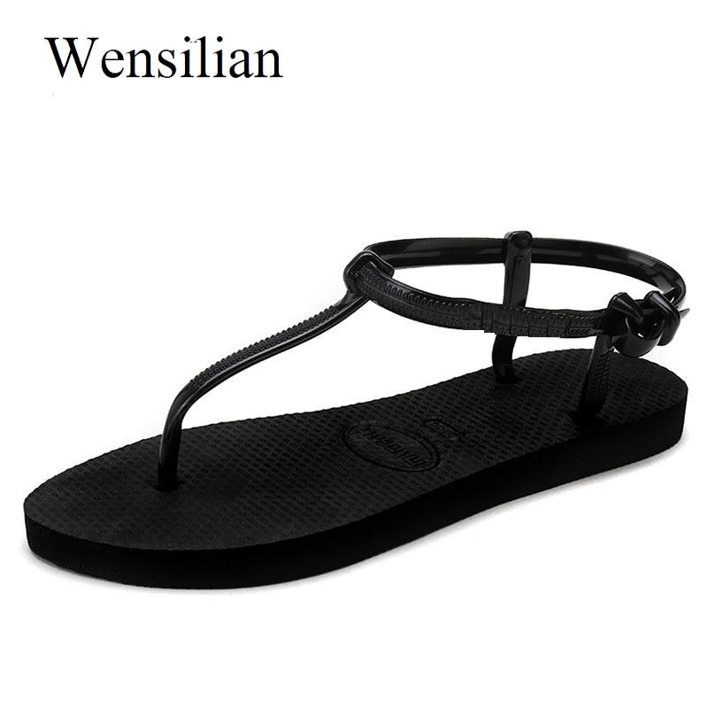 Gladiator Sandals Women Flat Sandals Women Summer T Stripe Flip Flops Beach Shoes Flat Shoes Women Non-slip Black Zapatos Mujer