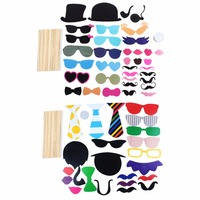 58PCS Lot Fun Photo Booth Wedding Photo Props Lip Colorful Card On A Stick Party Supplies