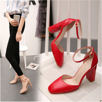 meifeini2019 Spring new womens high heel red patent leather shoes
