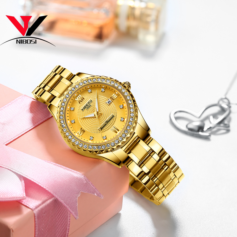 Image 5 - NIBOSI Gold Watch Women 2019 Luxury Brand Women Watches Waterproof Fashion Dress Diamond Quartz Brand Lady Wrist Watches Saat   -in Women's Watches from Watches