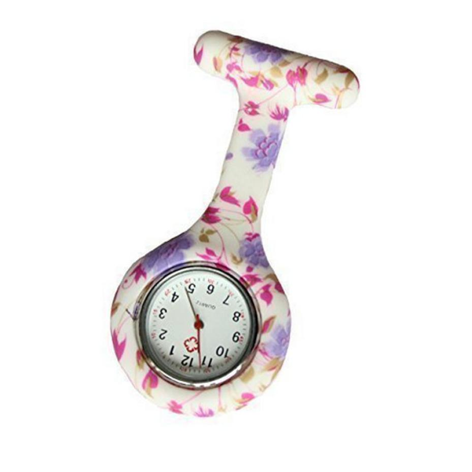 Timezone #501 Fashion Simple Floral Nurse Clip-on Fob Brooch Pendant Hanging Pocket Watch
