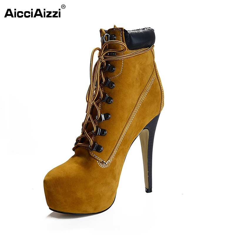 Popular High Heel Women Ankle Boots Flock Fashion Platform Round Toe Thin Heel Boots Shoes Woman Botas Female Size 35-46 B051 flat with bow ankle boots shoes style women boots round toe platform snow boots for women fashion flock short outdoor shoes