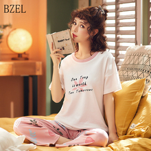 BZEL New Pajamas Set 여성용 레터 프린트 셔츠 핑크 팬츠 Sleep Lounge Nightgown 여성용 탑 & 바지 세트 Nightwear Lingerie