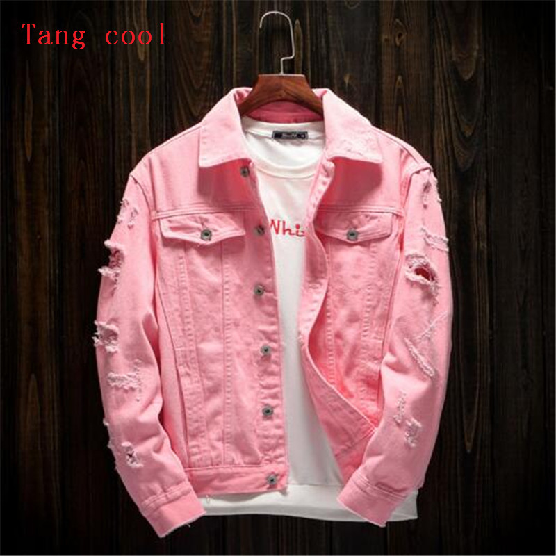 Tang cool 2018 spring and summer new style mens hole loose jeans long sleeved coat fashion pink black red and white jacket