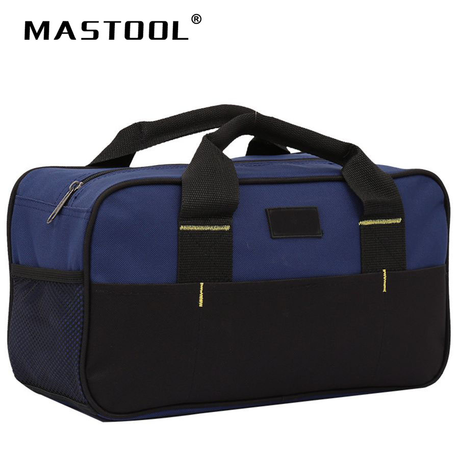 12 Inch Blue Tool Bag Smooth Zipper Thickened Bottom Waterproof Big Storage Bag For Plenty Of Tools