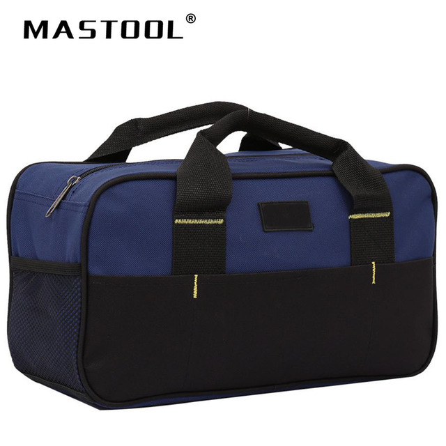 12 Inch Blue Tool Bag Smooth Zipper Thickened Bottom Waterproof Storage For Plenty Of