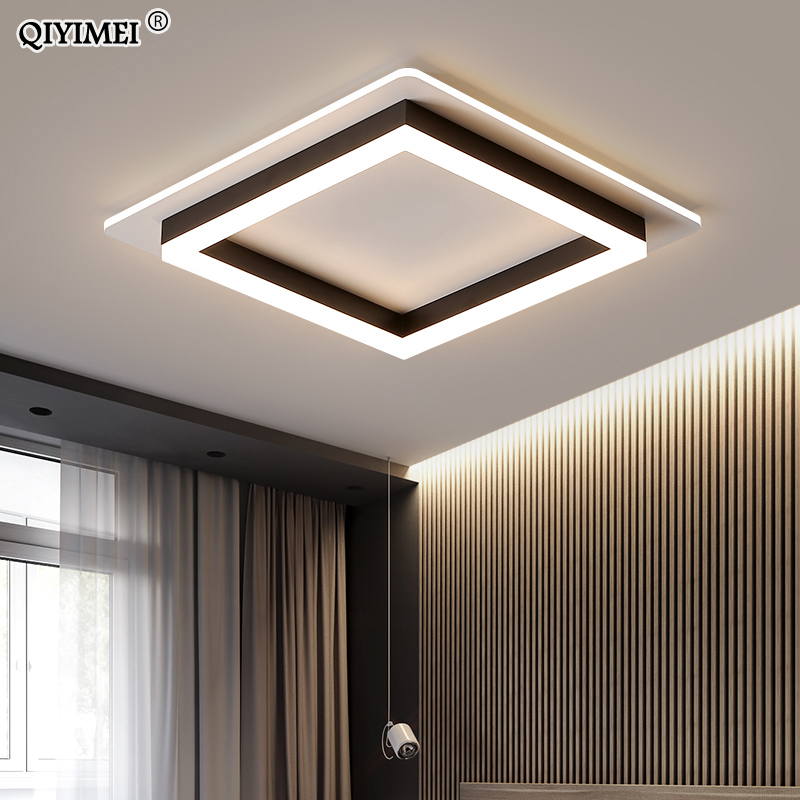 Modern LED Chandelier For Living Room Ceiling Fixture Black White Lamp With Remote Control Bedroom New