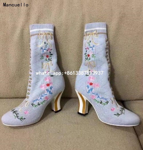 2017 Spring New Fashion Women European Style Knit Wool Lace Up Strange Heel High Heel Mid-calf Short Boots Big Size 43