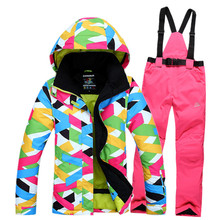 Russia -30 High Quality New 2016 Winter Clothing Outerwear Winter Outdoor Ski Women's Suit Skiing Windproof ski jacket