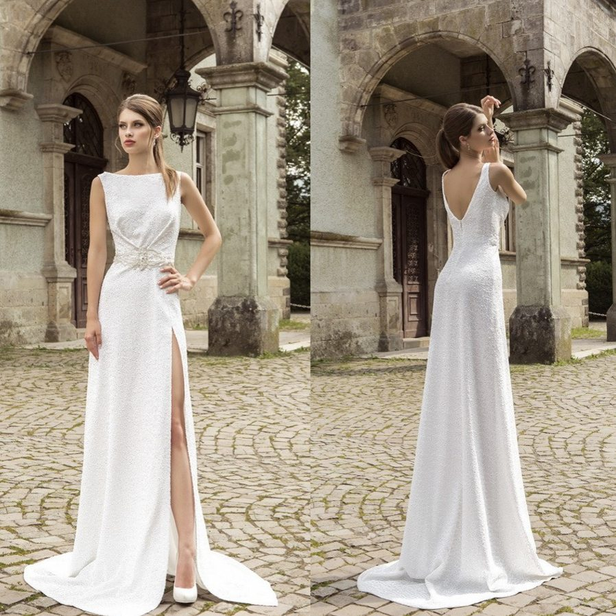08531fa34600 Elegant Boat Neck Mermaid wedding dresses 2015 Sexy High slit white lace  Long Bridal gowns Backless vestido de casamento WD062