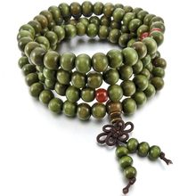 8mm Wood Necklace Tibetan Green Sandal 108pcs Bead Buddhist Prayer Bracelet Man, Woman(China)