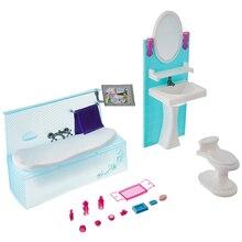 Датский стиль ванная комната для Барби кукольный домик Красивая зеленая мебель аксессуары с ванной комод Классические игрушки для девочек