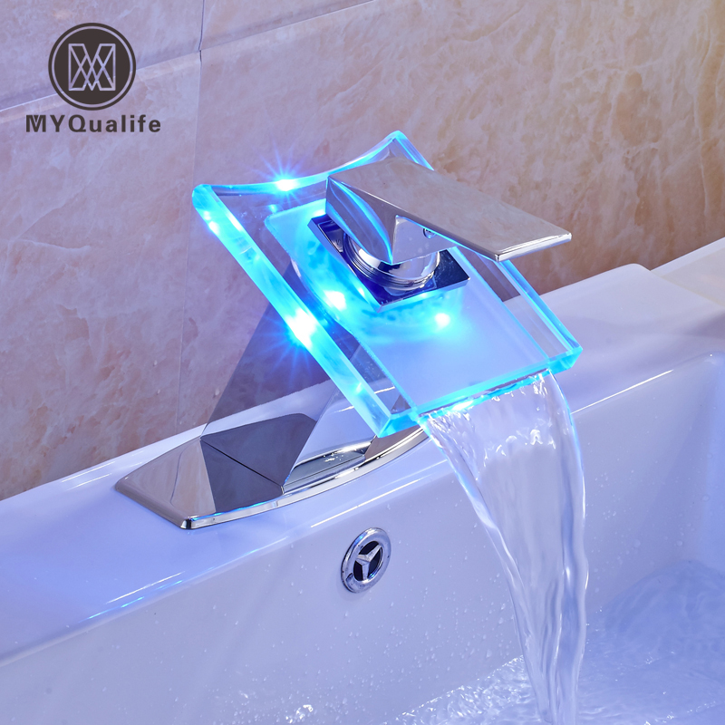 Chrome LED Light Basin Faucet Single Handle Water Glass Spout with Hot and Cold Water Taps Free Shipping micoe hot and cold water basin faucet mixer single handle single hole modern style chrome tap square multi function m hc203
