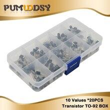 10 стоимость 200 шт. BC337 BC327 2N2222 2N2907 2N3904 2N3906 S8050 S8550 A1015 C1815 транзисторный набор коробка транзисторов пакет