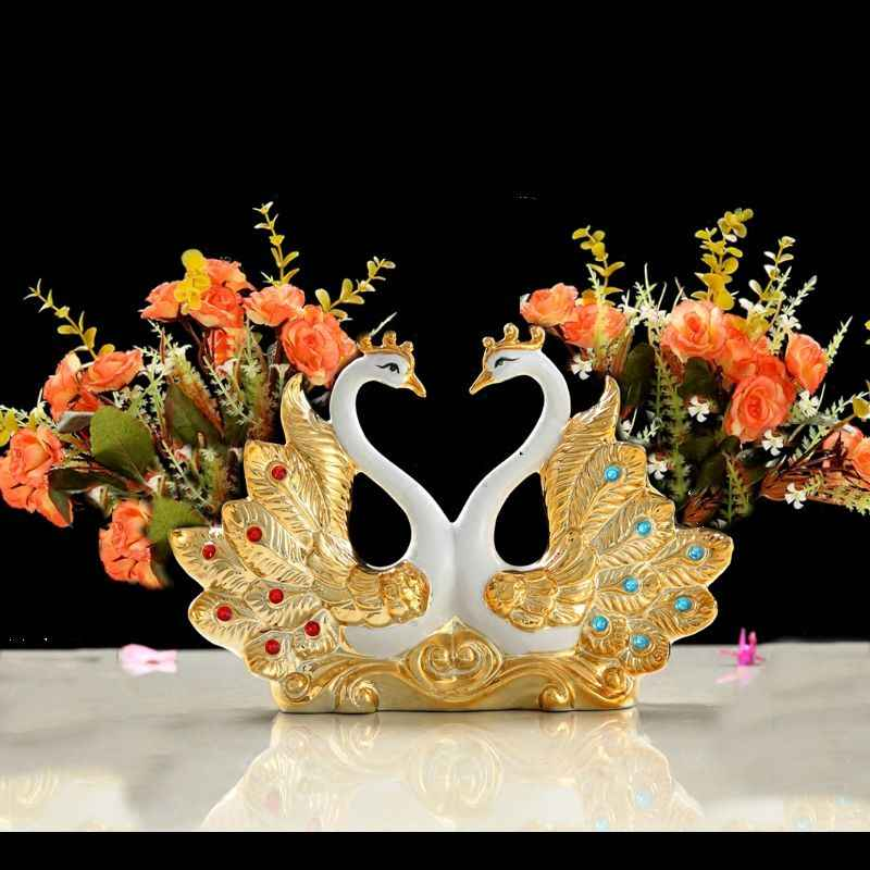 Gold-plated Wan Wedding Gift Ceramic Vase Ornaments Home Furnishing Decoration Crafts Livingroom Creative TV Cabinet Figurines