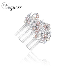 VOGUESS 2017 New Freashwater Pearl Hair Combs Wedding Bride Bridal Floral Hairwear Luxury Hair Pins Jewelry Accessories
