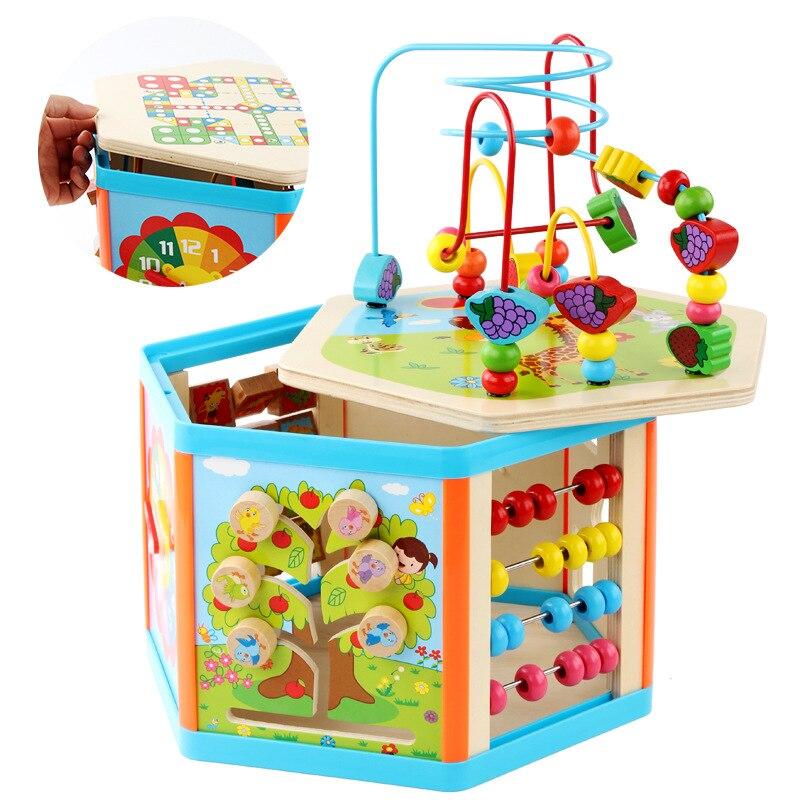 Enfants jouets Montessori jouets en bois 6 côté Intelligence boîte formation jeu Puzzle maths jouets bébé début jouets éducatifs pour les enfants - 3