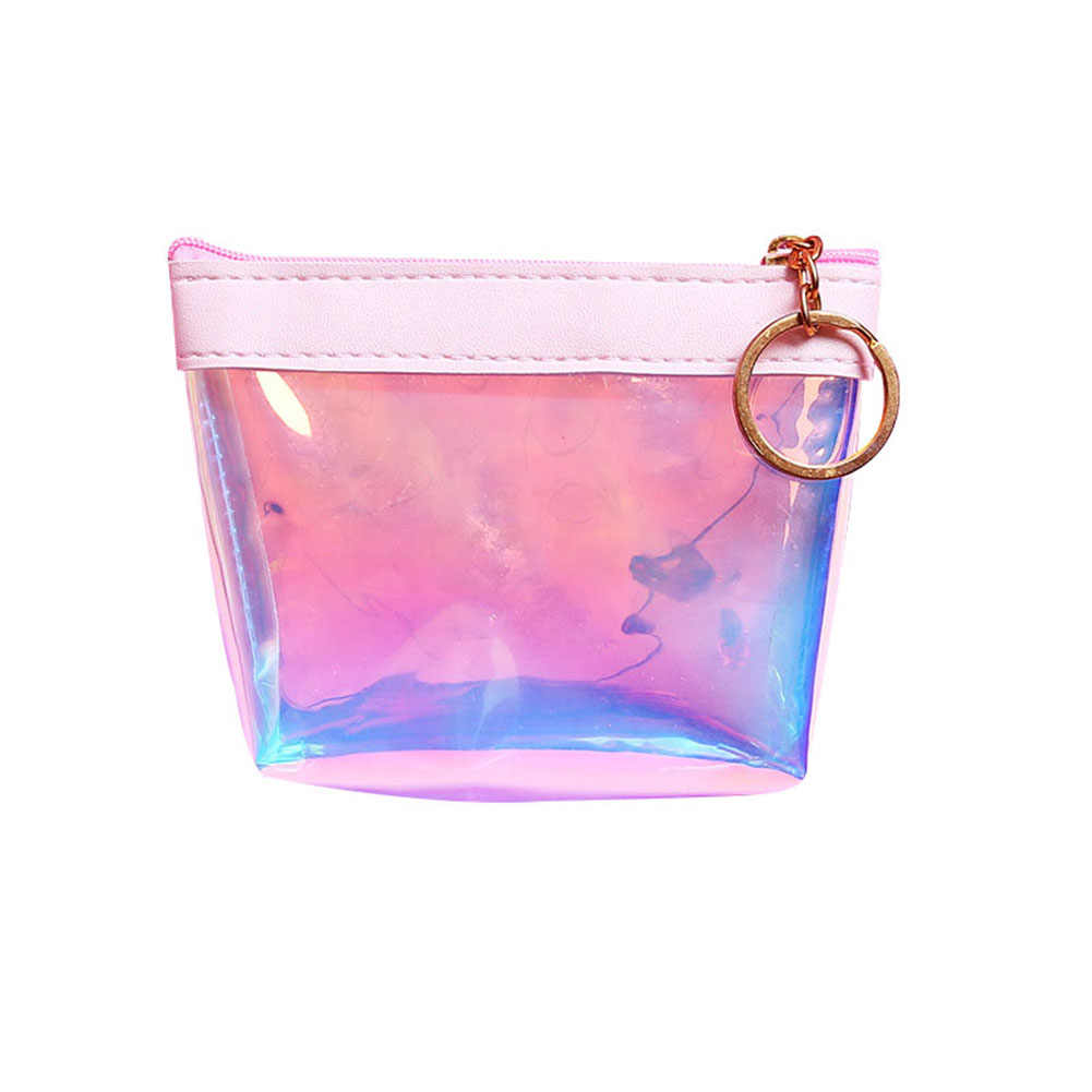Holographic Girl Coin Purse Cosmetic Pouch Brush Makeup Glitter Translucent Cable Earphone Bags 899