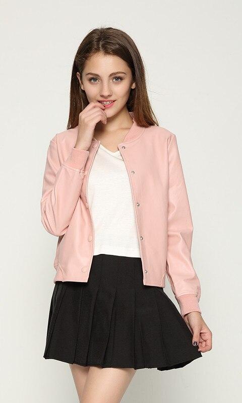 2017 New Women Casual faux leather jackets Lady Pink Short Flight Bomber Coat S-XL letter printed  black grey zipper pocket