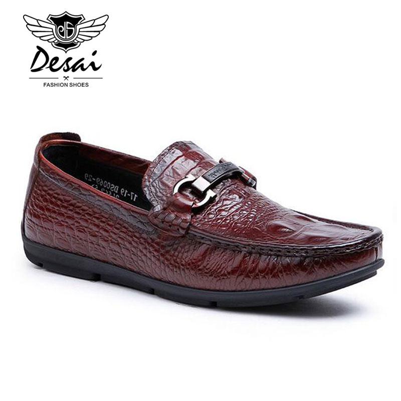Desai Luxury Brand Men Loafers Fashion Genuine Leather Slip-on Flats Sequined Casual Driving Shoes Soft Moccasins Man XMP774 casual shoes 2016 fashion genuine leather loafers moccasins slip on flats shoes black golden sliver 3 colors
