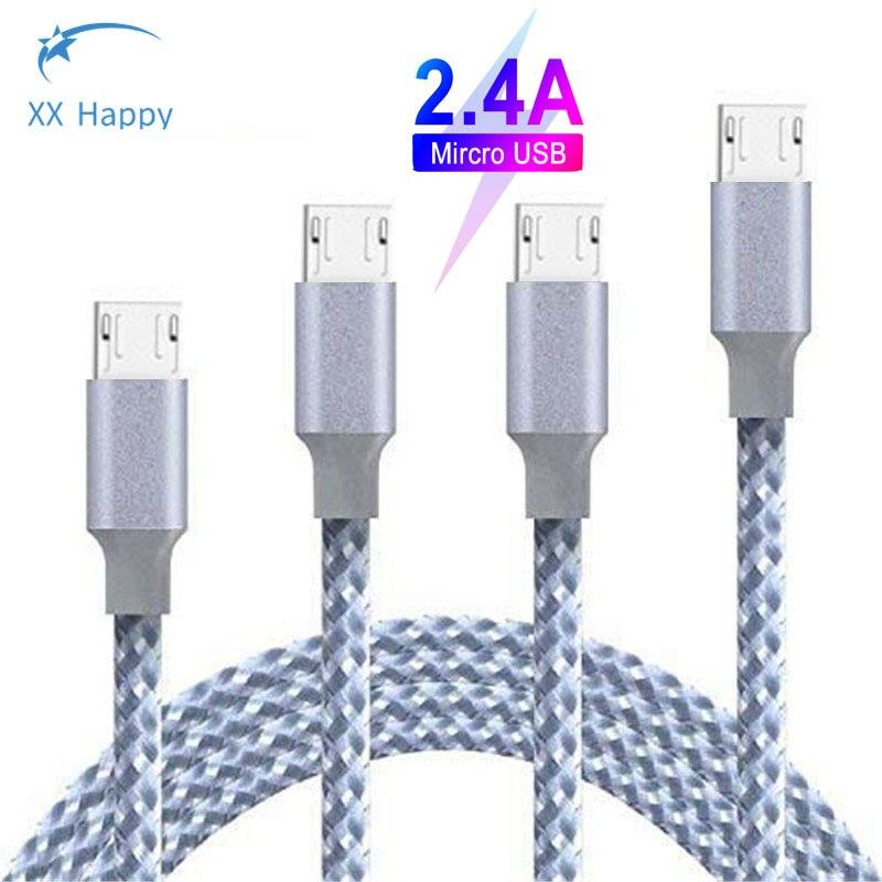 XX feliz Cable Micro USB móvil de Nylon cable de datos 3M 2M 1M de Cable para Xiaomi Redmi Note 4 5 para una 6 Plus Pro 9 para Samsung