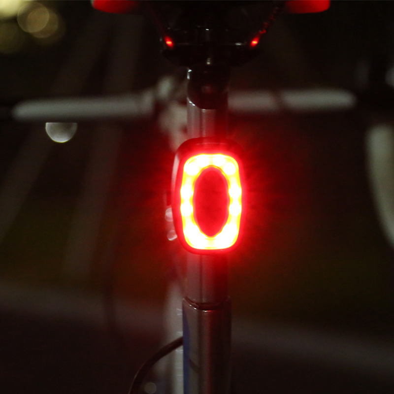 LED Rechargeable Bicycle Rear Light Smart Bicycle Tail Light 7 Mode Waterproof X6 USB Bike TailLight Cycling Lamp 16 Lights