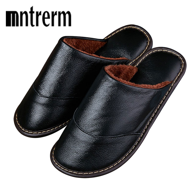 Mntrerm Men Winter Warm Home Slippers Couple Thick Plush Non-slip House Shoes Men Indoor Floor Bedroom Genuine Leather Slippers
