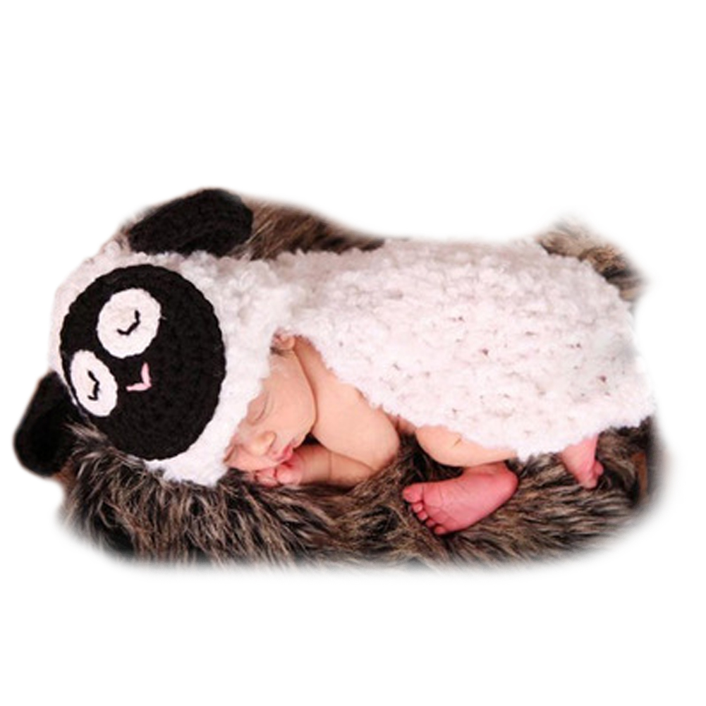 Newborns Baby Photo Props Comfortable Infant Baby Girls Boy Crochet Knitted Little Lamb Costume Handmade Baby Clothes Winter
