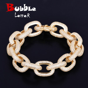 Image 1 - 18mm Chunky AAA Zircon Round Cuban Link Bracelet Mens Hip hop Jewelry Gold Color Chain Bangle 7 9""