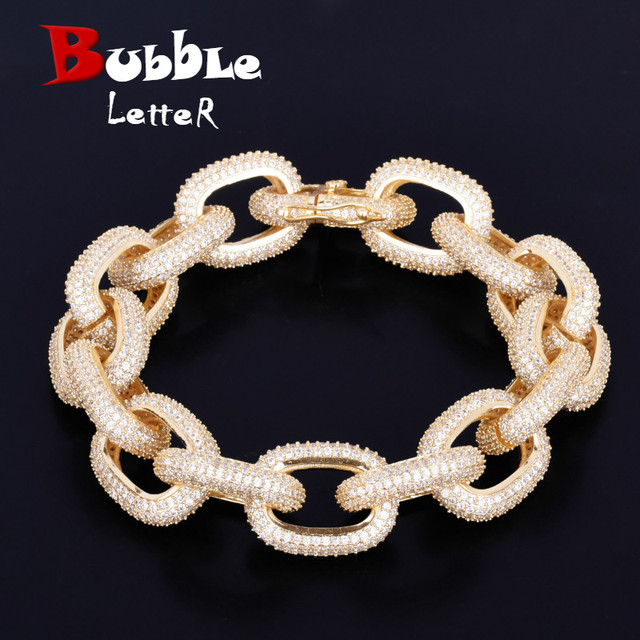 18mm Chunky AAA Zircon Round Cuban Link Bracelet Mens Hip hop Jewelry Gold Color Chain Bangle 7 9""