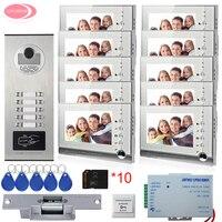 10 Apartment 7 Color Intercom System Video Door Phone Intercom 10 Buttons Rfid Camera 8GB SD