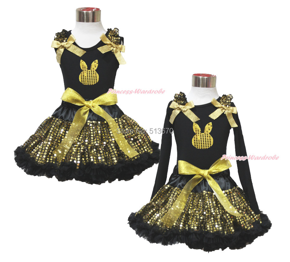 Easter Gold Bling Bunny Black Top Sparkle Sequins Girl Pettiskirt Set 1-8Year MAPSA0483 цена и фото