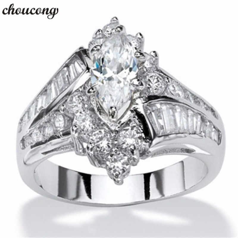 โบราณแหวนM Arquise Cut AAAเพทายCzสีขาวทองที่เต็มไปหมั้นแหวนแต่งงานวงสำหรับผู้หญิงผู้ชายเครื่องประดับแฟชั่น