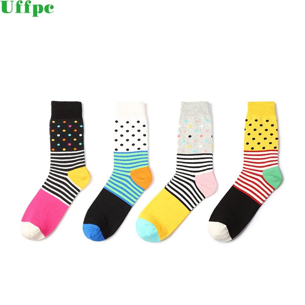 5 Pair Happy Men Socks Oil Painting Combed Cotton Brand Harajuku Men Socks Colorful Dress knit Crew Long Funny Socks