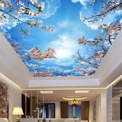 Benutzerdefinierte Wall Mural Malerei Blauen Himmel Weiße Wolken  Pfirsichblüte Decke Modernen Designs 3d Wohnzimmer Schlafzimmer Decke Tapete