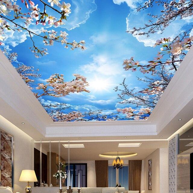 Custom muur mural schilderen blue sky witte wolken perzik bloesem ...