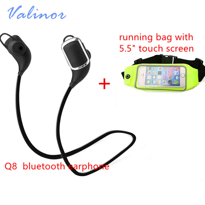 Hot Q8 Stereo Music Bluetooth Headset Wireless Earphone Sports Running Headphones Headphone with Micro for Smart mobile phone