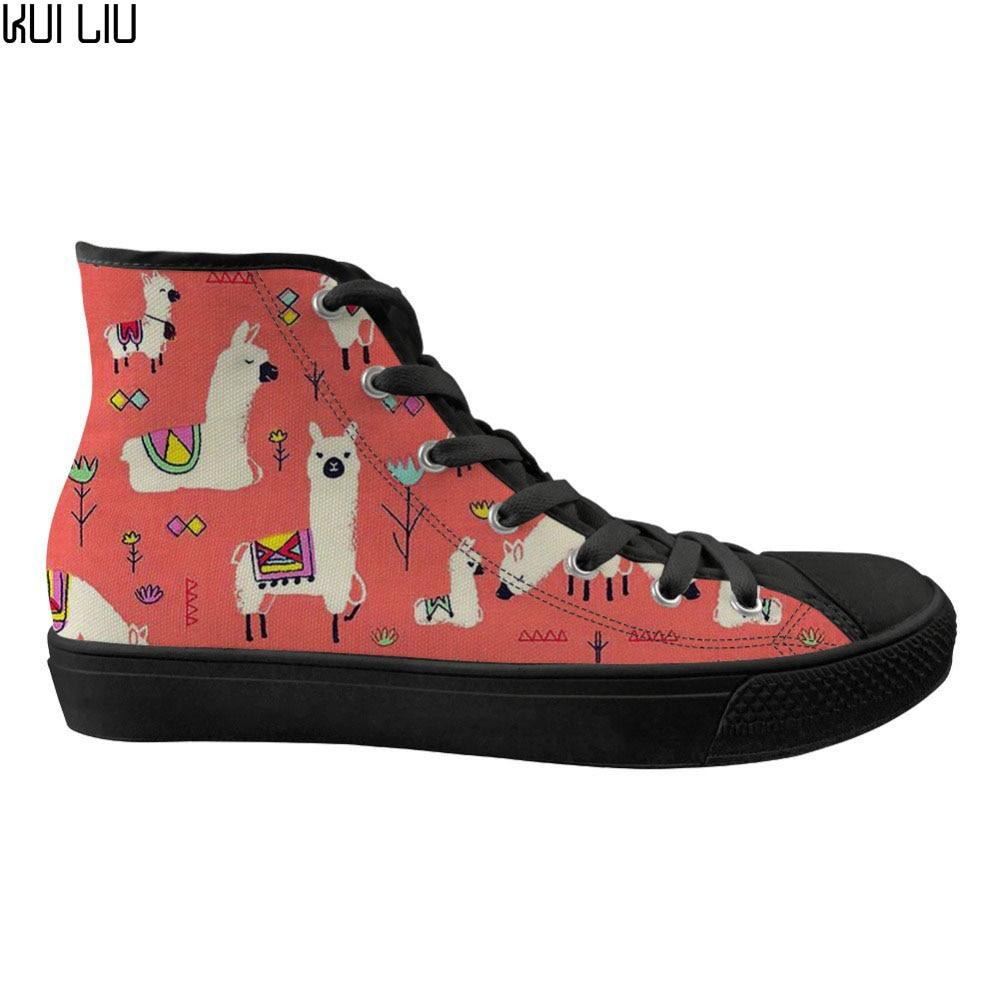 Chaussures de sport pour femmes personnalisées dessin animé alpaga marque Designer dames chaussures de toile haut à lacets chaussures confortables pour femmes